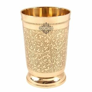 Indian Art Villa Brass Embossed Glass Tumbler 330 ML