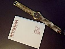 WITTNAUER SWISS MOVEMENT DIAMOND ACCENT WOMAN'S WATCH GOLD PLATED BLACK DIAL