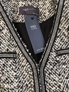 New M&S Collection Textured Tweed Boucle Jacket Blazer Black White Elegant 6