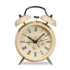 "4"" Vintage White Rose Flower Twin Bell Table Desk Alarm Clock Non Ticking Clock"