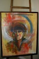 MODERN ABSTRACT EXPRESSIONIST MAN PORTRAIT OIL PAINTING VIVID MID CENTURY
