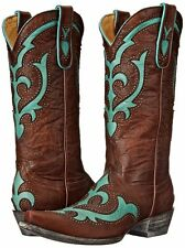 New in Box Old Gringo Kailani Stud Womens Brass/Turquoise Cowboy Boots 7 M