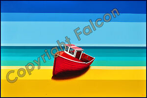 large painting of a red fishing boat resting on an abstract beach