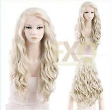 Long Curly Wavy Light Ash Blonde Heat Resistant Synthetic Front Wig Hair