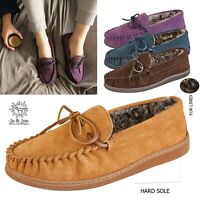 MENS FUR LINED MOCCASIN SLIPPERS LEATHER SUEDE WINTER SHOES SIZE 7 8 9 10 11 12
