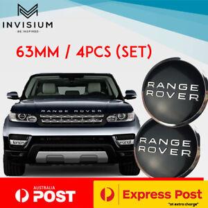 4x RANGE ROVER Land Rover 63MM Black Centre Wheel Caps HUB SPORT EVOQUE VELAR