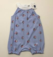 NWT JANIE AND JACK First Picnic Blue Floral Romper Outfit Size 18-24 Months