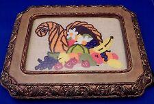 Vintage Framed Macrame Embroidered HORN OF PLENTY