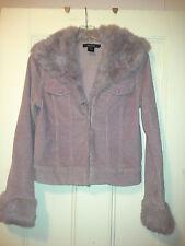 Arden B Purple Corduroy Jacket with Purple Rabbit Fur Trim and Collar Sz M