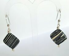 Sterling Silver Earrings with Square Black & White Howlite Gems