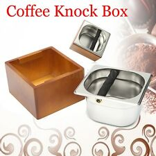 Stainless Steel + Wooden Holder Coffee Knock Box Accessory 175mm*165mm*107mm