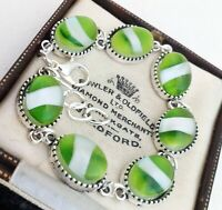 Vintage - 1950s CZECH Lime Green & White Stripe Small Oval Cabochon - Bracelet