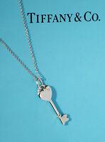 Tiffany & Co KEYS Sterling Silver Small Heart 0.3Ct Diamond Key Necklace