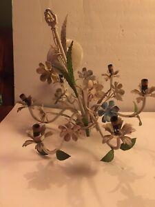 Vintage 1960s Metal Floral Tole Chandelier Light