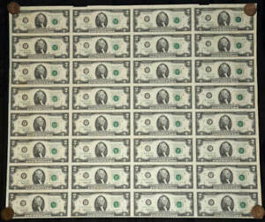 United States 1995 Uncut Sheet of 32 2 Dollar Notes Uncirculated