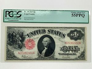 1917 $1 Legal Tender Note Fr. 39  -  PCGS Choice About New 55 PPQ.