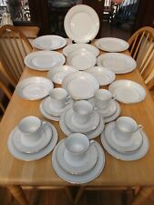 More details for crown ming fine china - tea / dinner set - 30 pieces - white and gold