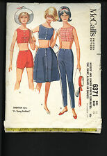 McCall's #6371 Misses' Sports Separates:Top*Skirt*Pants or Shorts sz12 B32©1964