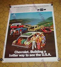 "NOS 1972 CHEVROLET WAGONS 30x40"" Showroom POSTER Sign IMPALA Chevelle SUBURBAN"