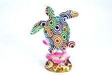 Turtle Standing On Reef Hand Painted Colorful Detail Home Decor Statue Vintage