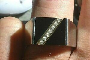 14 Kt Gold Titanium Onyx Diamonds Ring & Cufflinks SET 25 Diamonds HIGH Quality
