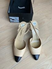 Chanel Women Shoes 37,5 Classic Pumps, Beige And Black Toe.Ankle Strap Heel