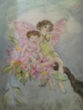 Lovely Fairies Hand Painted Dish Mother and Child Seated on a Branch