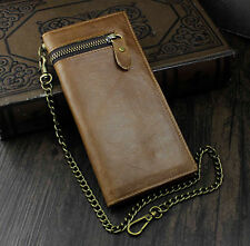 Mens Genuine Leather Momey/Card Long Wallet Purse With Key chain