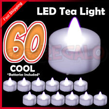 60 X LED WHITE TEA LIGHT TEALIGHT CANDLES FLAMELESS WEDDING BATTERY INCLUDED