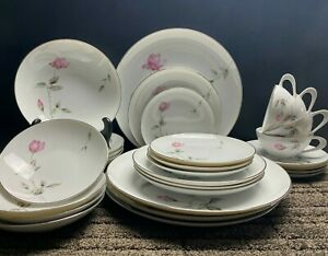 Dawn Rose by Sango 28 Piece Dish Dinner Set Pink Rose Design Japan Service for 4