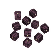 Small Cube Glass Beads Transparent Purple 8x8mm Pack of 10 (Q100/5)
