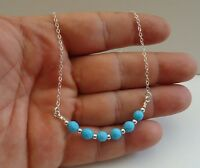 925 STERLING SILVER LADIES NECKLACE PENDANT W/  TURQUOISE GEMSTONES/ 18'' LONG