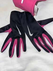 Nike Thermal Headband and Glove Set Women's size M, Black/Hot Pink