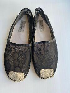 Valentino Garavani Flat Shoes Espadrilles Black Floral Print Sheer Lace size 40
