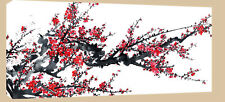LARGE CHINESE PLUM BLOSSOM PAINTING CANVAS RED PINK 44""