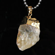 Natural Durzy Gold Yellow Quartz Gemstone Random Shape Stone Pendant Jewelry