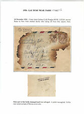 Italy Interrupted Mail/Crash Cover LAI Flight Rome To NY Crashed In Paris 1956