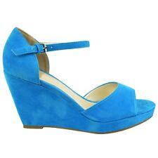 Womens Ladies Mid High HEELS Platform Wedge PEEP Toe Strappy Summer Sandals Size UK 5 / EU 38 / US 7 Sky Blue Suede