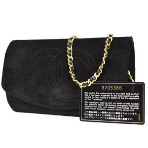 CHANEL CC Logo Chain Shoulder Bag Suede Skin Leather Black Vintage 94MK657