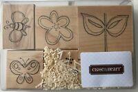 Whimsy Garden 6 Rubber Stamp Set Flower Bee Butterfly S705 CTMH JRL Design