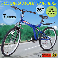 "26"" MOUNTAIN BIKE 7 SPEED SHIMANO SUSPENSION FOLDING BICYCLE ALUMINUM FRAME CE"