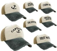 Unisex Baseball Cap Boating Hat Captain,Skipper,Wreck,Pirate,Drunk Sailor Beige
