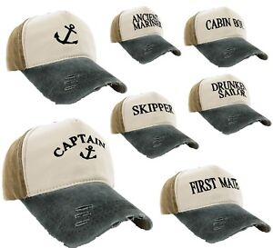 Unisex Baseball Cap Boating Hat Captain,Skipper,Wreck,Pirate,Drunk Sailor Beige