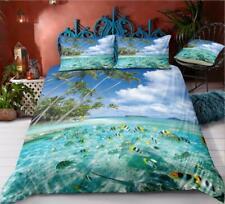 3D Green Fish Beach ZHUB1090 Bed Pillowcases Quilt Duvet Cover Queen King Zoe