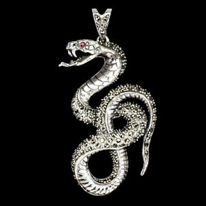 Heated Round Red Ruby 2mm Marcasite 925 Sterling Silver Cobra Pendant