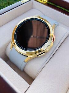 Custom 24k Gold Plated Samsung Galaxy Watch 4 POLISHED Gold Bezel Gray Band 2021