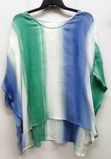 CHICOS Size L XL 2 3 Blue Green Tie Dye Pullover Sheer Knit Poncho Top