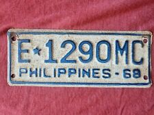 1968 Phillipines Exempt MOTORCYCLE License Plate E 1290 MC Very Rare