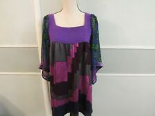 Custo Barcelona loose blouse, multi design, sheer peacock print arms, size 1