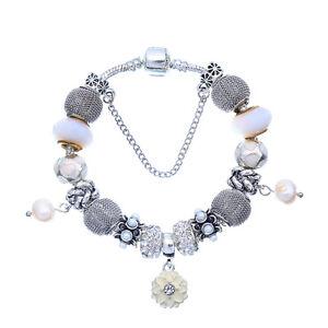 WOW Silver White Enamel Rhinestone Flower Murano Beads Charm European Bracelet
